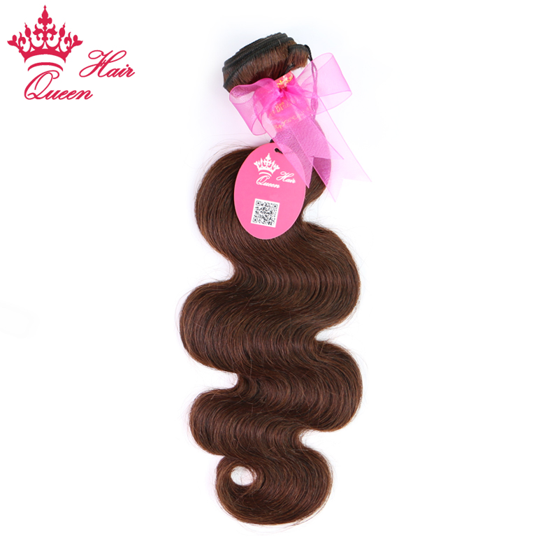 "Queen Hair Products Brazilian Body Wave 100% Human Hair Remy #2 Natural Brown Color 12""-24"" in stock Free Shipping"