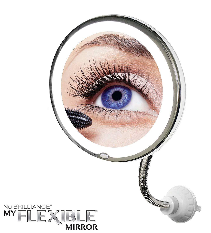 Круглое гибкое зеркало с подсветкой 10x Mag светодиодный светильник, гибкий светильник для шеи, портативный 10-кратное увеличение