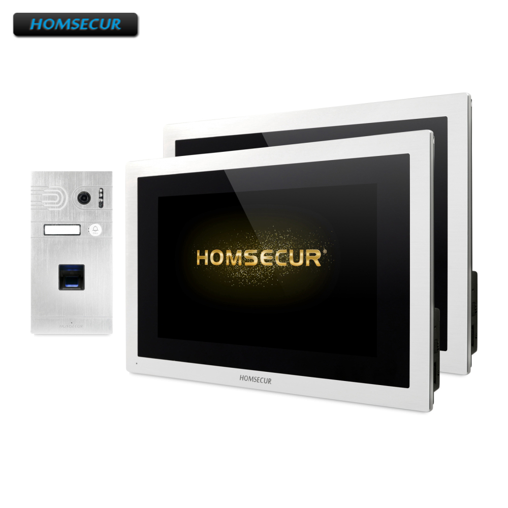 """HOMSECUR 10"""" Wired Hands-free Video&Audio Home Intercom Fingerprint Access for Apartment BC061HD-S+BM114HD-S"""