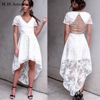 M H Artemis Floral White Lace Dress Women Sexy Backless Lace Up Embroidery Dress Party Short