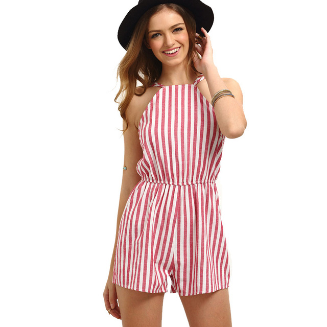 14fb8fb71129 Women s Elegant White Red Stripe Sexy Backless Casual Party Summer Beach  Sleeveless Short Lolita Romper Playsuit 501873