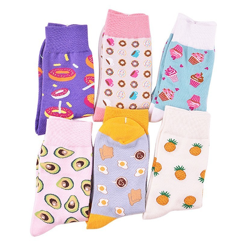 PEONFLY 2018 Harajuku Novelty Avocado Doughnuts Cute   Socks   Women Funny Fruit Dessert Pattern   Socks   casual Cotton   Socks   female