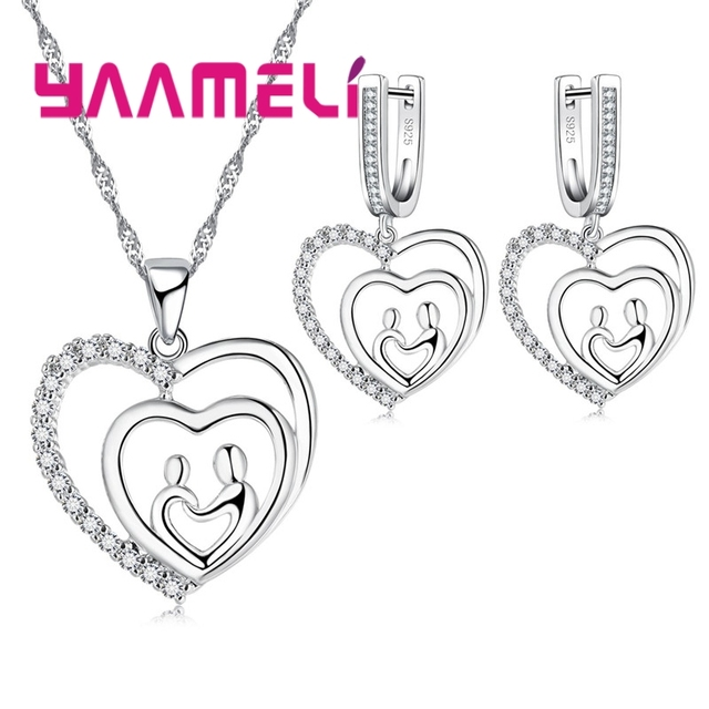 Yaameli Fashion Design Female Jewelry Sets Silver 925 Stamped Heart To Heart Plant Couple Lover Necklace Earring For Engagement by Yaameli