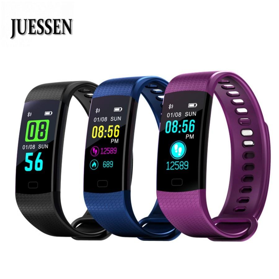 Caliente Y5 pulsera inteligente dormir Tracker reloj Color pantalla electrónica rastreador de Fitness pulsera corazón Monitor PK mi banda 3 2