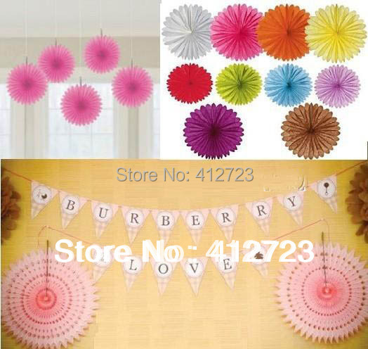 Free Shipping By Dhl 17colors 100 Piece Per Lot 25cm Colorful Tissue Paper Fan Hanging Paper