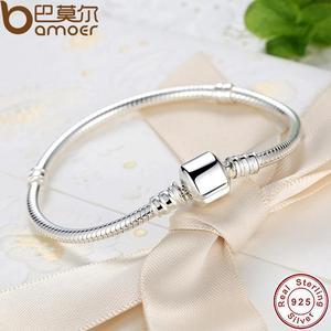 Image 3 - BAMOER autentyczne 100% 925 srebrny łańcuszek żmijka łańcuch bransoletka i bransoletka Pave gwiazda cyrkonia CZ DIY biżuteria