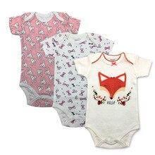 цена на 3Piece/lot 100% Cotton Baby Bodysuit Fashion Baby Boys Girls Clothes Infant Jumpsuit Overalls Short Sleeve Newborn Baby Clothing