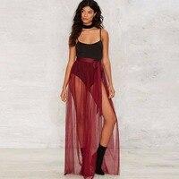 בורדו יין אדום טול סרטי חצאית קו מותניים line אורך קיר ארוך מקסי חצאית sheer שקוף סקסי סדק חצאיות נשים