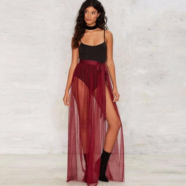 4b7babf465e095 Bordeaux wijn rood tule rok linten taille een line floor lengte lange maxi  rok sheer transparante