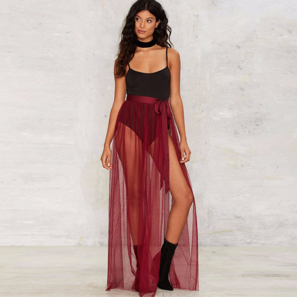 4f780d833f Detail Feedback Questions about Burgundy Wine Red Tulle Skirt Ribbons  Waistline A Line Floor Length Long Maxi Skirt Sheer Transparent Sexy Slit  Skirts Women ...