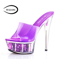 WEIQIAONA New Women's Fashion Crystal High Heels Flower Platform Peep Toe Buckle Bride Shoes Woman Sexy Extremely Sandalies