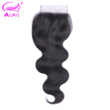 Ariel Brazilian Hair 100% Human Hair Body Wave 8-20 Inch 4*4 Lace Closure Natural Color Non- Remy Hair 1PC/Lot Free Part Closure(China)