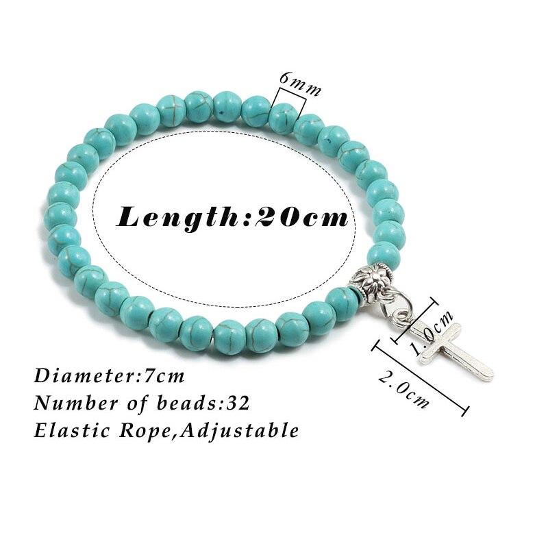 Trendy Men Natural Stone Bracelet Charm Matte Black Cross Beaded Bracelets&Bangles Women Yoga Strand Chain Couple Jewelry Gifts 5