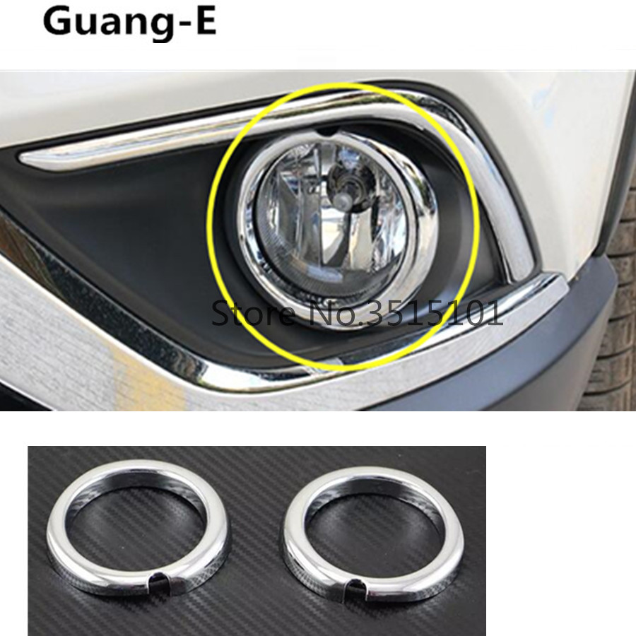 Car front fog light lamp detector frame stick styling ABS Chrome cover trim stick 2pcs For