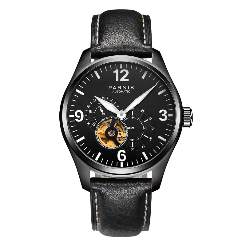 Parnis Pilot PLUS Seriers Luminous Mens Leather Watchband Fashion Automatic Mechanical Watch Wristwatch yelang v1015 upgrade version khaki number tritium gas green luminous men automatic mechanical business watch leather watchband