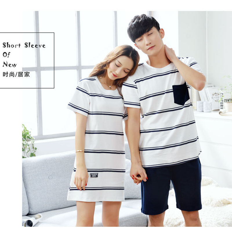 Couples Pajamas Sets Short Sleeve Women Striped Nightgowns Cotton Fashion Men Pajamas Suit 2 piece Summer Home Lounge