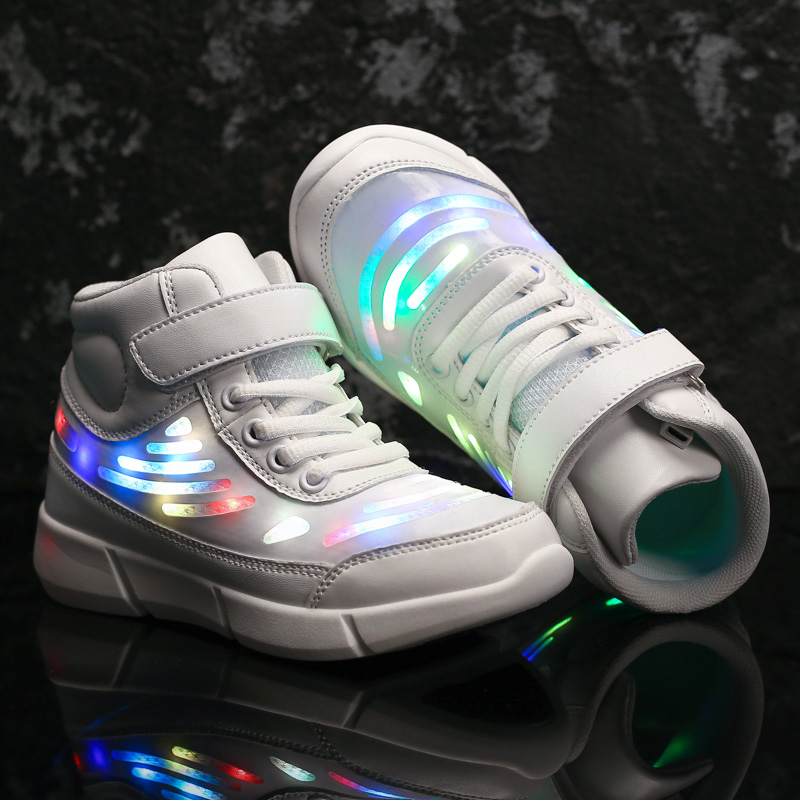 USB Charging Children Glowing Shoes Running Fashion Ankle High Boys Girls Luminous Sneakers Kids Flash Led Light Shoes