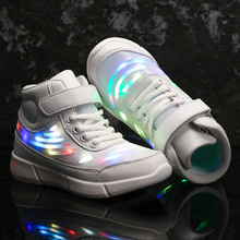 USB Charging Children Glowing Shoes Running Fashion Ankle High Boys Girls Luminous Sneakers Kids Flash Led Light Shoes kids shoes led glowing sneakers children 7 colors light up luminous sole girls boys casual shoes kids usb charging sneakers
