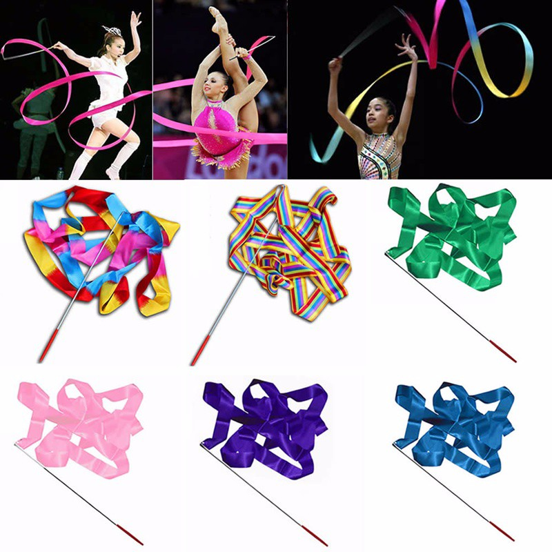 4M Colorful Gymnastic Ballet Dancing Twirling Ribbon Rod Streamer Stick Baton Dancer Toys Outdoor Games For Children Kids Girls