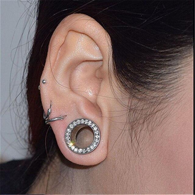 Stainless Steel Ear Plugs Tunnels Flesh Expansions Piercing Earring Gauges Crystal Ears Expanders Rings