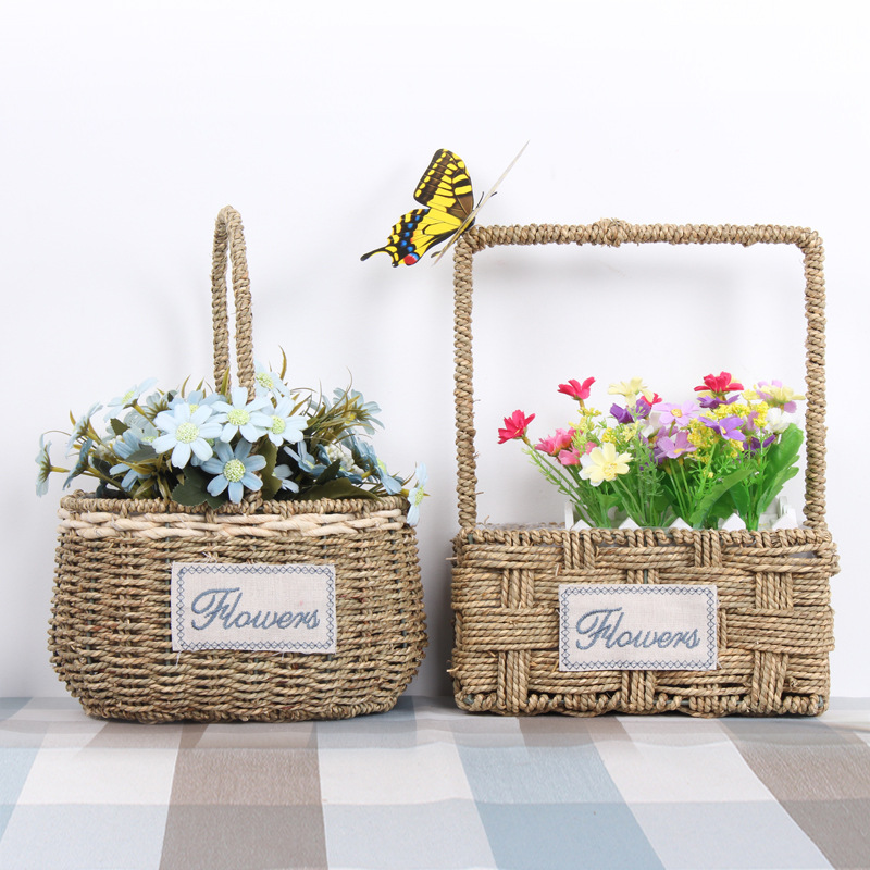 Country Style flower straw basket planters vase container of succulents home and garden decoration