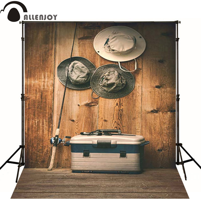 Allenjoy Photographic background Wooden fishing rod fishing hat box newborn vinyl backdrops photocall interesting wall floor