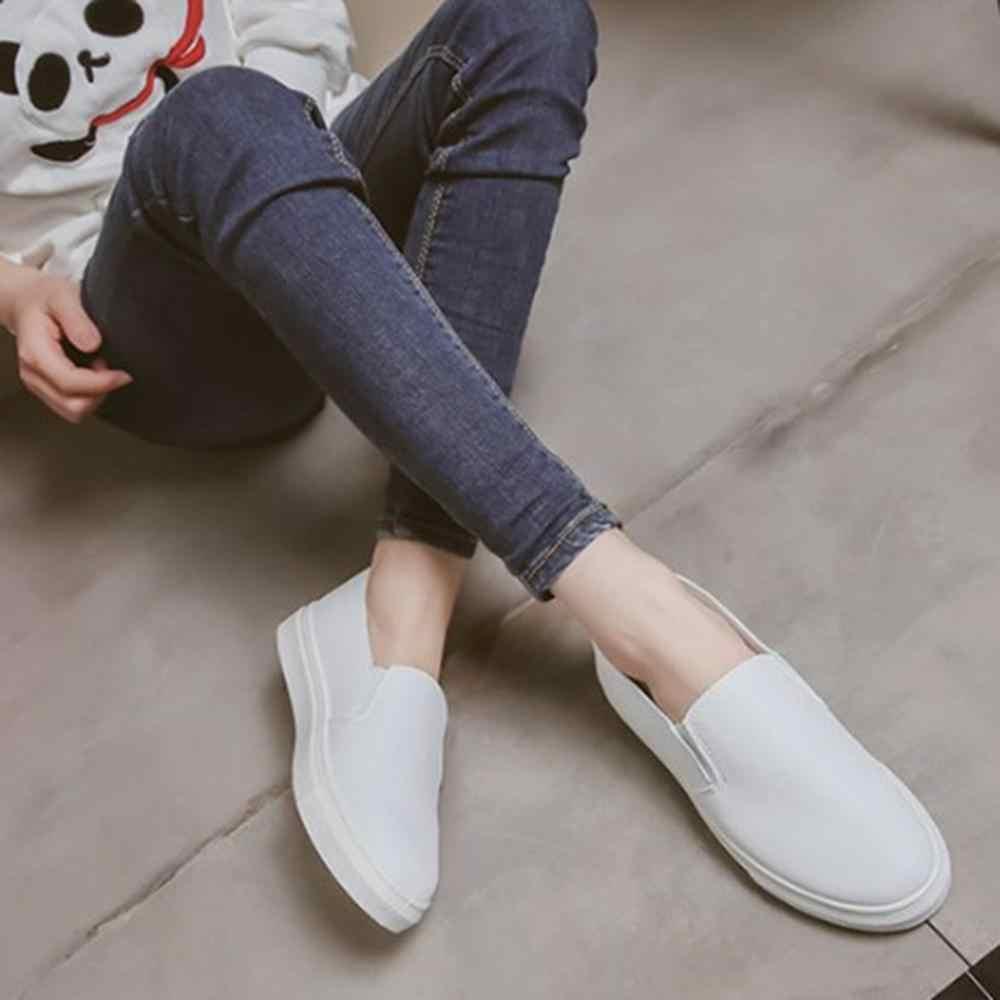 2019 ฤดูใบไม้ผลิผู้หญิงรองเท้าหนังนุ่ม Loafers บัลเล่ต์หญิงสบายๆรองเท้าผ้าใบสีขาวรองเท้าผู้หญิงลื่นบนรอบ Toe แบนรองเท้า