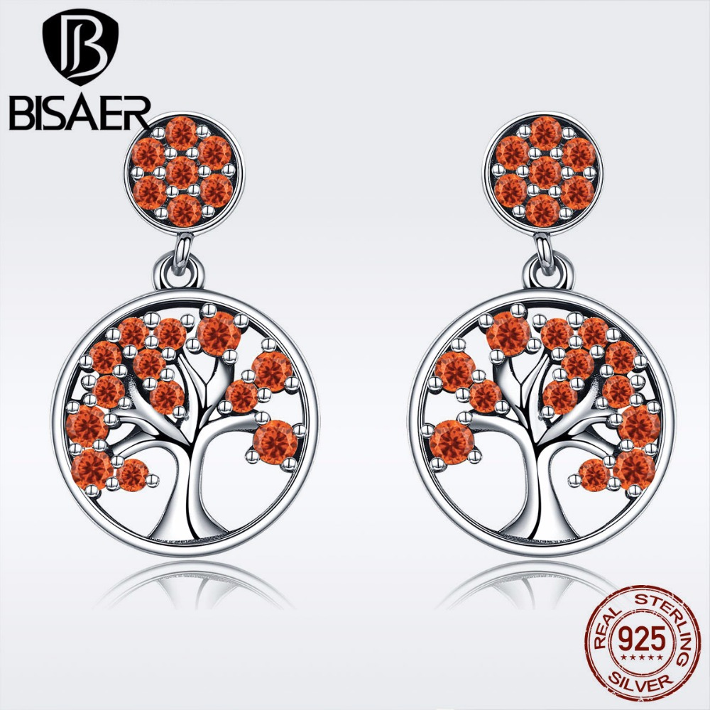BISAER Hot Sale Bijoux 925 Sterling Silver Tree of Life Orange CZ Stud Earrings for Women Sterling Silver Jewelry S925 GXE321