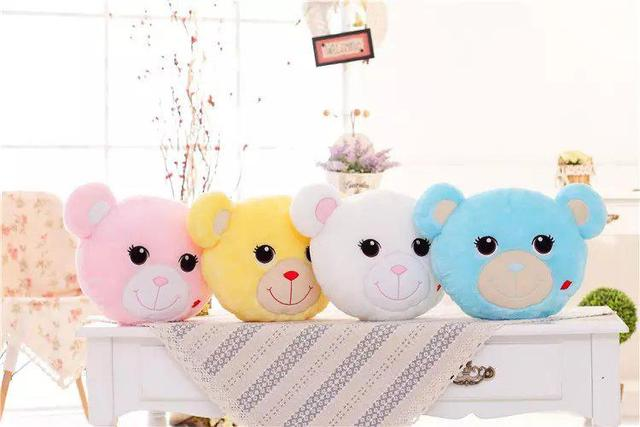 Luminous Stuffed  LED Light Up Plush Glow Teddy Bear Face Pillow Toy Auto 7 Color Rotation Illuminated Stuffed Cushion Gift