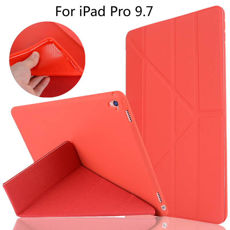 High-quality case Cover Deformation Smart Slim Magnetic TPU Leather Stand Cases For iPad Pro 9.7 A1673 A1674 A1675 + Film+Stylus official original 1 1 case cover for apple ipad pro 12 9 2017 cases tpu smart clear cover for ipad pro ipad plus 12 9 2015 case