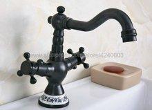 Basin Faucets Black Oil Brass Bathroom Sink Faucet 360 Degree Swivel Spout Double Cross Handle Bath kitchen Mixer Taps Knf645 black 360 swivel european retro bathroom