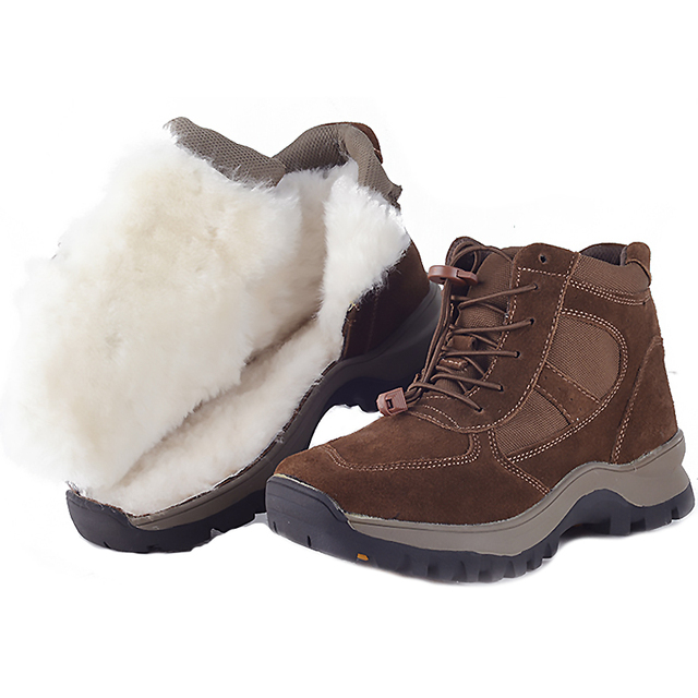 Natural Wool Winter Boots Russian Style Genuine Leather Sheep Fur military Boots Handmade Men Warmest Winter Snow Boots Size 46
