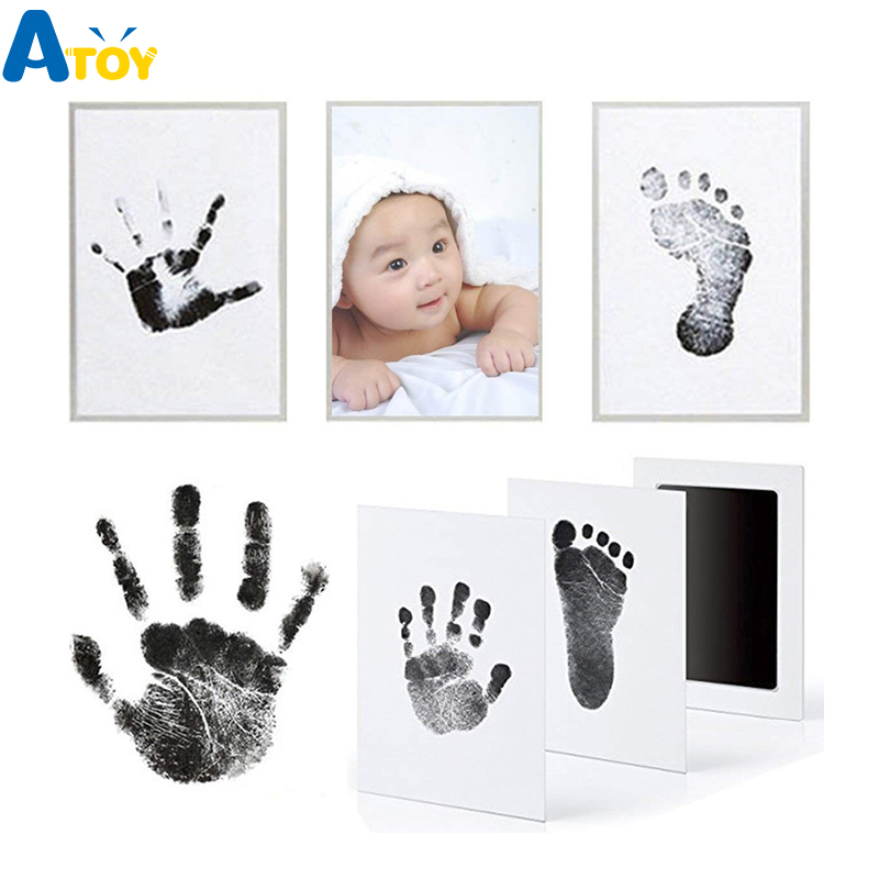 Footprint Imprint Kit Baby Ink Pad Storage Memento Ink Newborn Photo Frame Kits Baby Souvenir Drawer Inkless Handprint Casting(China)