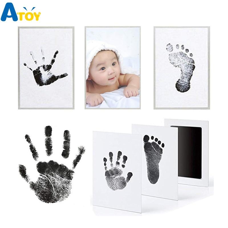 Набор для отпечатка ступней, набор для хранения чернил для новорождённых, набор с рамкой для фотографий, детский Сувенирный ящик, чернильна...