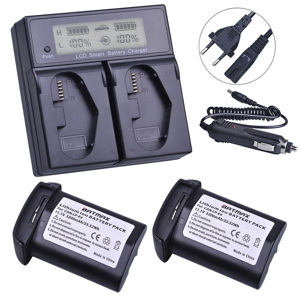 2Pcs 3200mAh LP-E4 LP E4 LPE4 Battery akku+ LCD Dual Fast Charger for Canon EOS-1D X / 1Ds Mark III / 1D Mark IV / 1D Mark III remote switch trigger for canon eos 1d mark ii 1ds mark ii n more
