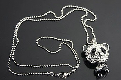 Vintage silver full crystal large head panda necklace crystal bear vintage silver full crystal large head panda necklace crystal bear charms chains choker necklace pendants 10pcs mozeypictures Gallery