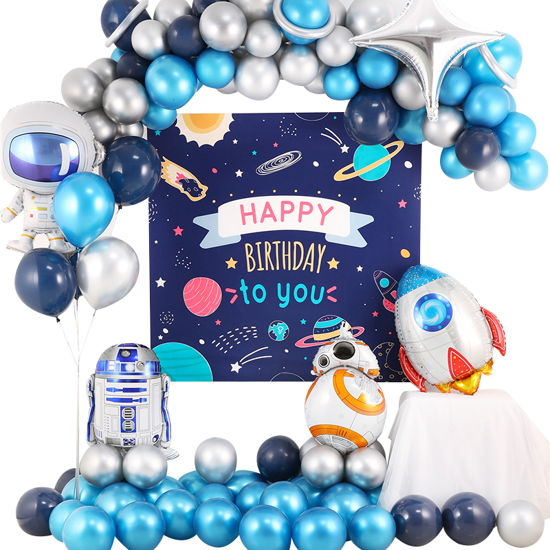 Outer Space <font><b>Party</b></font> Astronaut Rocket Ship Foil Balloons Galaxy/Solar System Theme <font><b>Party</b></font> Boy Kids <font><b>Birthday</b></font> <font><b>Party</b></font> <font><b>Decoration</b></font> Favors image
