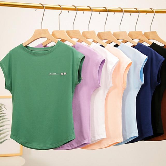 T Shirt Women 2019 Summer T-Shirt Casual Tshirts Women's Cotton Top Ladies Tee Solid Loose White Pink Camisetas Feminina T55