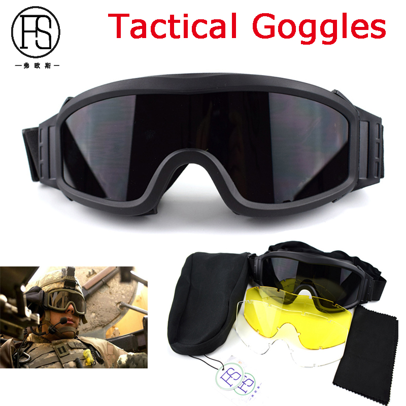 Tactical Outdoor Sport Safety Goggles UV400 Protection War Game Airsoft Paintball Glasses Army Military Shooting Glasses