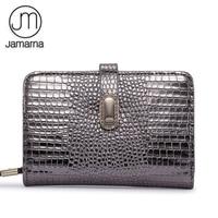 Jamarna Genuine Leather Women Wallets Crocodile Pattern Small Wallet Magnetic Buckle Cowhide Women Purse With Zipper Short