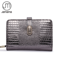 Jamarna Genuine Leather Women Wallets Crocodile Pattern Small Wallet Magnetic Buckle Cowhide Women Purse With Zipper Short