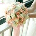 SSYFashion Romántico Dulce Nupcial Ramo 27 cm Flores Color de Rosa Ramo De La Boda de dama de Honor de La Boda Props Accesorios Buque De Noiva
