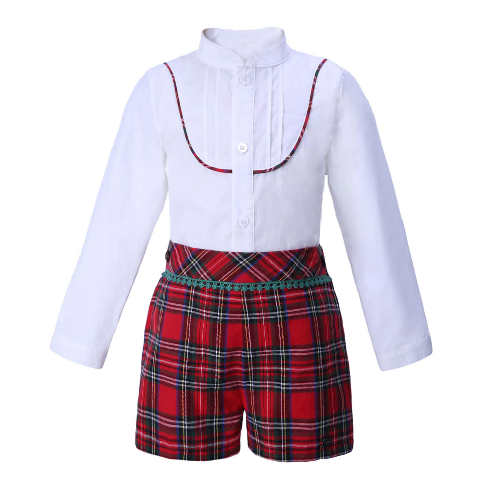 Pettigirl Christmas Boys Clothing Sets White shirt And Grid Shorts Boutique Children Clothing Outfit B DMCS007 A143-in Clothing Sets from Mother & Kids