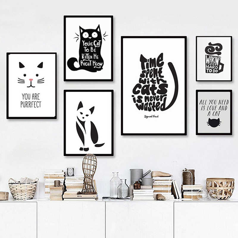 Abstract Cat Quotes Canvas Printings Black and White Animals Posters Prints Nordic Wall Art Pictures for Living Room Home Decor