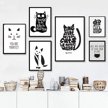 Abstract Cat Quotes Canvas Printings Black and White Animals Posters Prints Nordic Wall Art Pictures for Living Room Home Decor(China)
