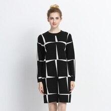 Трикотажные Платья-свитеры 2018 новое поступление с длинным рукавом осень-зима дамы платье в клетку Повседневное свободные женская одежда vestidos