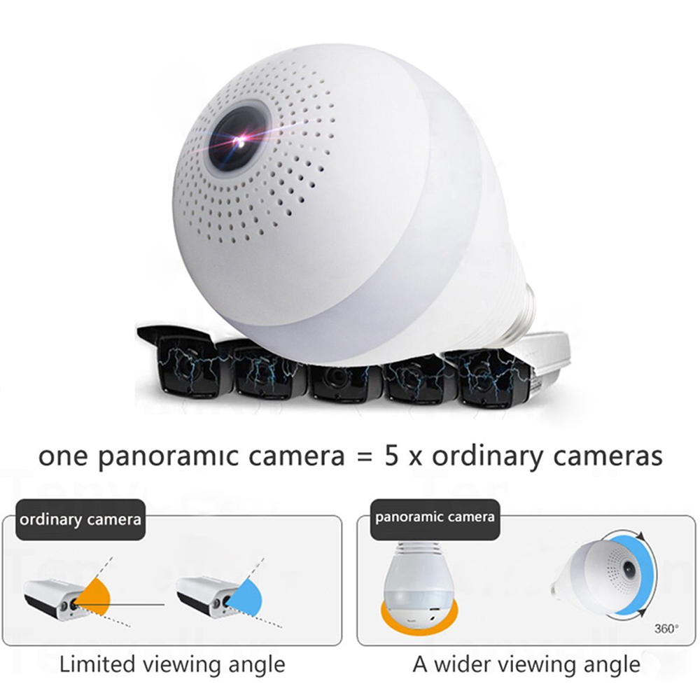 JCWHCAM 960P 360 Degree Indoor Wireless IP Camera Light FishEye Smart Home CCTV 3D VR Camera Home Security WiFi Camera Panoramic цена и фото