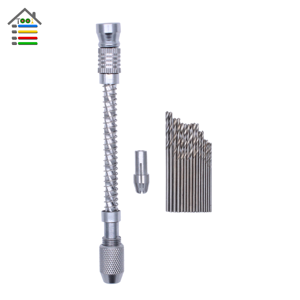 Handle Pin Vise Semi-automatic Spiral Hand Drill Jewelry Craft Slide for Wood Plastic Drilling Hole 16pc Twist Bits 0.8-1.5mm