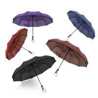 Dayanıklı üç Katlanır Yağmur Şemsiye Kadın Otomatik 10Rib Lüks Geniş Windproof Anti-Uv Golf Iş Erkekler Için Araba Şemsiye