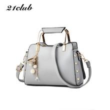 21club brand women solid ornaments totes small rivet shell handbag hotsale font b ladies b font